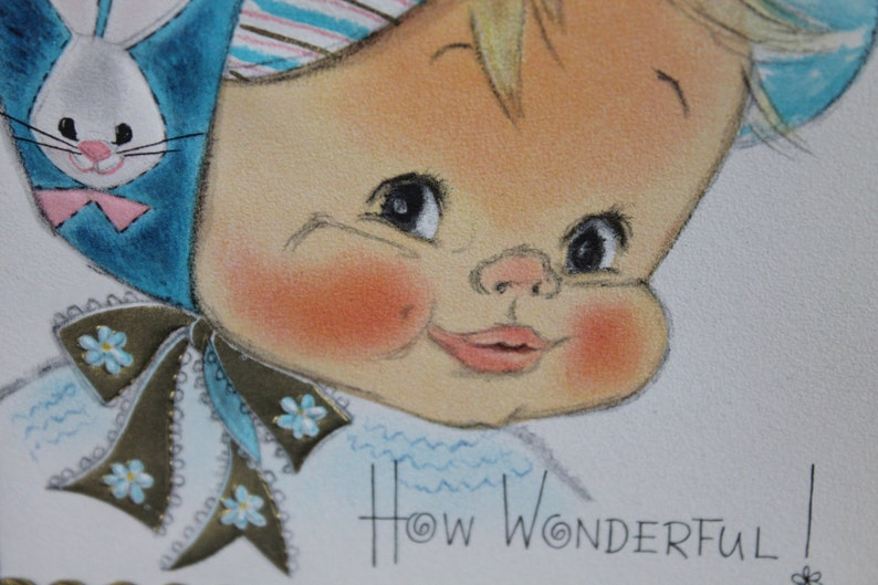 Vintage Hallmark Baby Boy Baby Shower Greeting Cards,