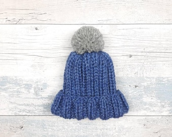 Baby Hat, Knitted Hat, Toddler Hat, Wool, Knit, Blue Hat, Bobble Hat, Beanie, Boys Hat, Girls Hat, Matching Mama and Baby