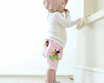 Girls Toucan Shorts, Girls Shorts, Kids Shorts, Summer Clothes, Children's Shorts, Kids Clothes, Baby Shorts, Tropical