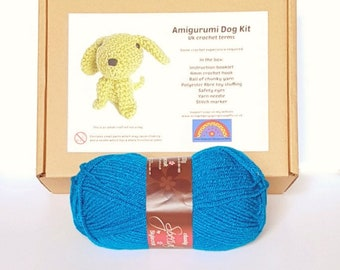Amigurumi Dog Kit - Dark Teal Blue Crochet Dog Kit