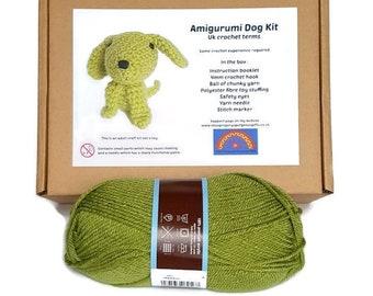 Amigurumi Dog Kit - Green Crochet Dog Kit