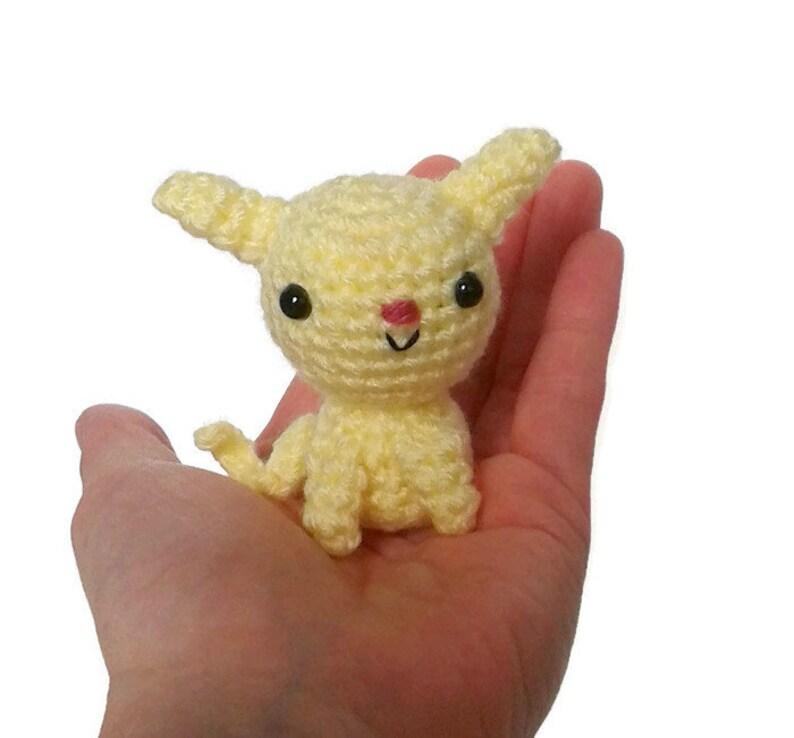 Yellow Crocheted Amigurumi Kitten with Blanket and Basket image 0