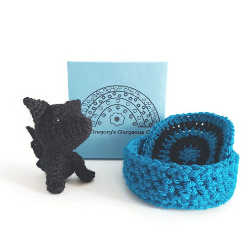Black Amigurumi Wolf with Bed and Blanket Little Wolf Pup image 0