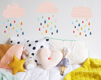 Wall Decal - Colorful Rains  - Wall Sticker - Room Decor