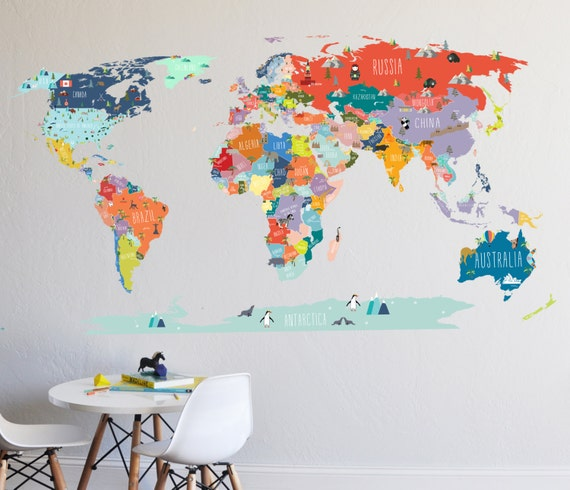 Wall Decal World Map Interactive Map Wall Sticker Room Etsy