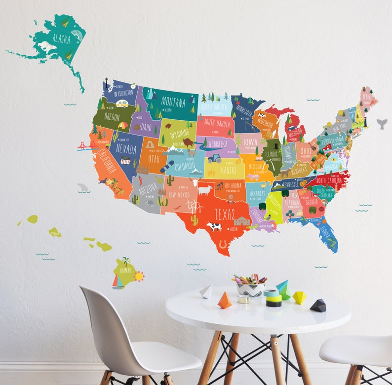 Interactive Map Of The Usa.Map Wall Decal Usa Interactive Map Wall Sticker