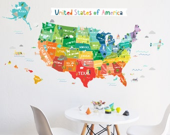 Wall Decal - Bright USA  - Map - Map Wall Decor -  Removable Wall Decal - Wall Sticker - Room Decor