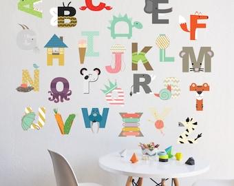 Alphabet - Wall Decal - Interactive Alphabet  - Wall Sticker - Room Decor - Wall Decor
