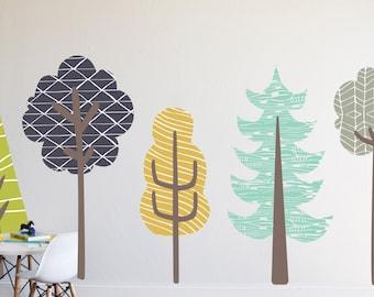 Wall Decal - Boys Trees-  Wall Sticker - Room Decor - Wall Decor - Tree Wall Art