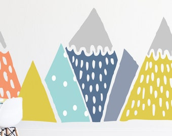 Wall Decal Hand Painted Mountains  - Wall Sticker - Room Decor - Wall Decor