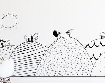 Hand Drawn Hills- Die Cut Decal - WALL DECAL