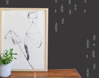 Hollow Hand Drawn Triangles - WALL DECAL