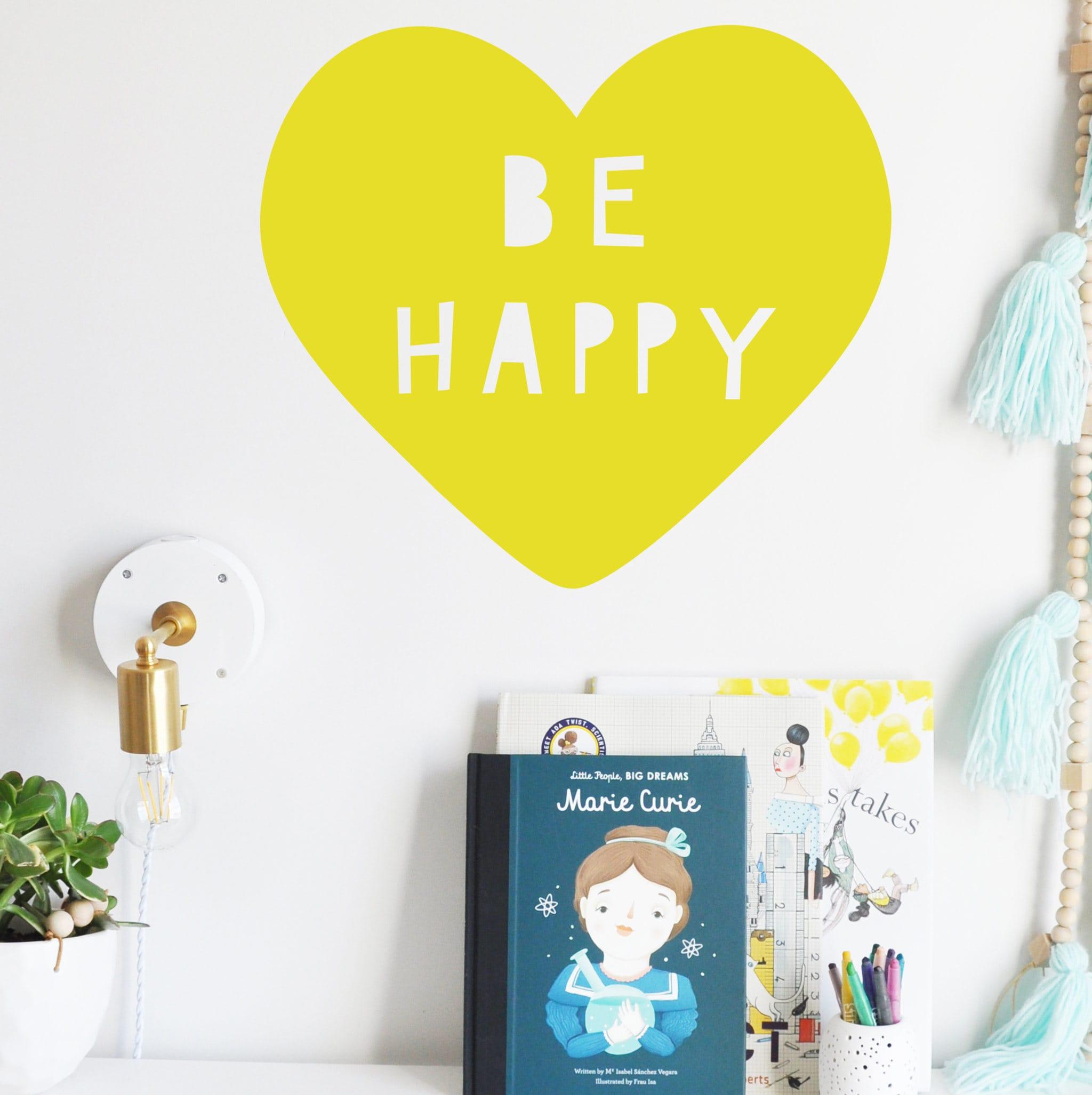 Wall Decal Be Happy Heart Wall Sticker Room Decor | Etsy