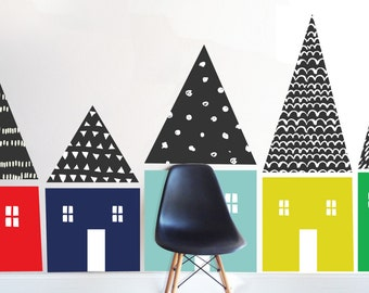 Hand Sketched Houses - Black Roofs -   LARGE WALL DECAL
