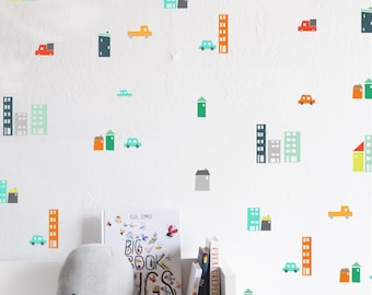 Wall Decal - City Traffic Compilation - wall sticker - room decor