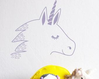 Wall Decal - Unicorn Head - Die Cut Decal - Wall Sticker - Room Decor - Wall Decor - Unicorn