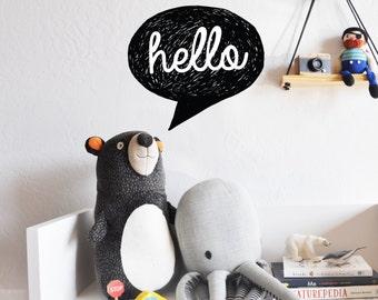 Wall Decal - Hello Speech Bubble - Wall Sticker - Room Decor - Wall Decor