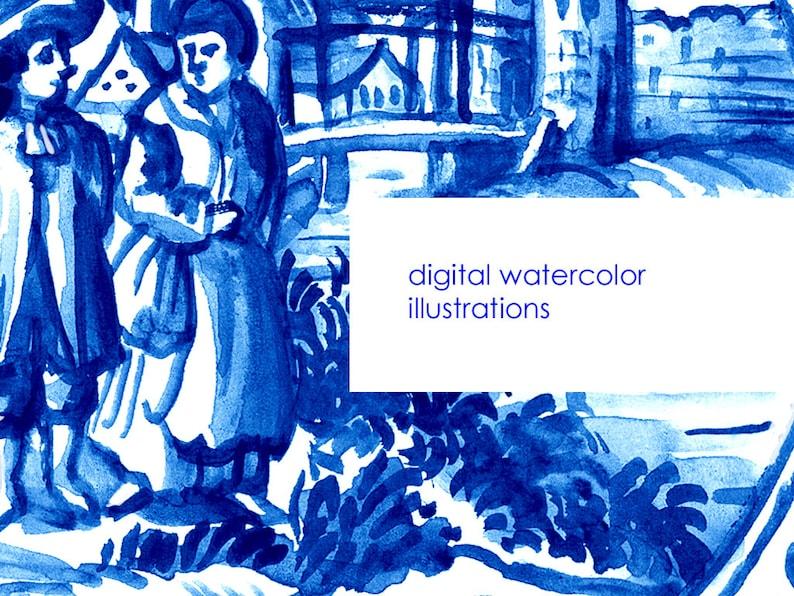 Digital Watercolor Illustration Dutch Tiles Clipart Printable Stock Illustration Hand Drawn Landscape Delft Blue Tiles Clip Art