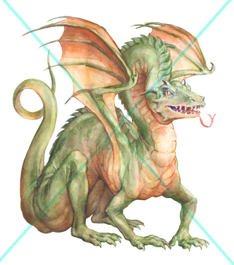 Digital Watercolor Illustration Hand-painted Commercial use Fantasy Clip Art Realistic Dragon Stock Illustration Dragons Clipart