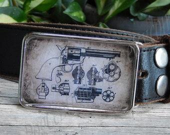 Vintage Colt 45 gun patent Cowboy gun Gifts for him Birthday Mens belt buckles Fathers Days Gift Gun belt buckle Mens belt buckle Old west