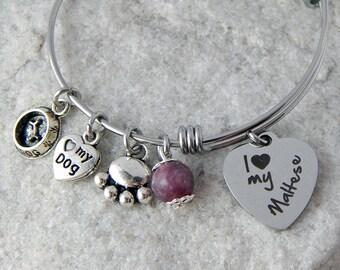 Maltese charm bangle bracelet Dog lover bracelet Dog themed jewelryDog mom gift Personalized gift Dog charm bracelet Dog bangle Paw bracelet