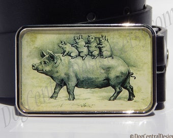 Momma and Baby Pigs Belt Buckle Choice of Buckle Finish Womens Mens Belts Unique Birthday or Anniversary Gifts Farm Animal Buckle