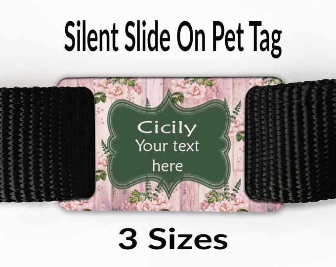 9c92e1105de4 Pet tag Shabby chic blush pink flowers and wood dog collar tag Silent Slide  on Quiet
