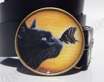 Belt buckle Black cat with a butterfly Choice of buckle finish Metal belt buckle Unique buckles Great gift for a cat lover Womens belts