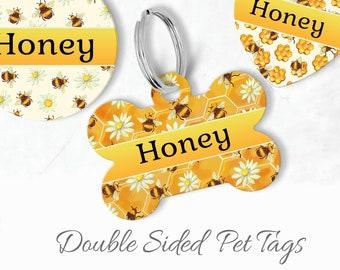 flowers Tag Honey Dog Name Tag Custom Pet Tag Spring ID Tag Bees and Flowers Pet ID tag Bee Stamped Cat ID Tag