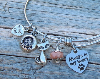 Cat Charm bracelet Always In My Heart Memorial bracelet Animal lover Womens jewelry Adjustable bangle bracelet Silver bracelet Cat charms
