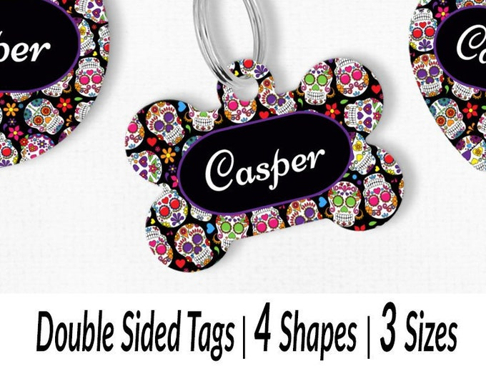 090b1dae9526 Sugar skulls dog tag Custom dog collar ID tags Pet ID tags Day of the dead