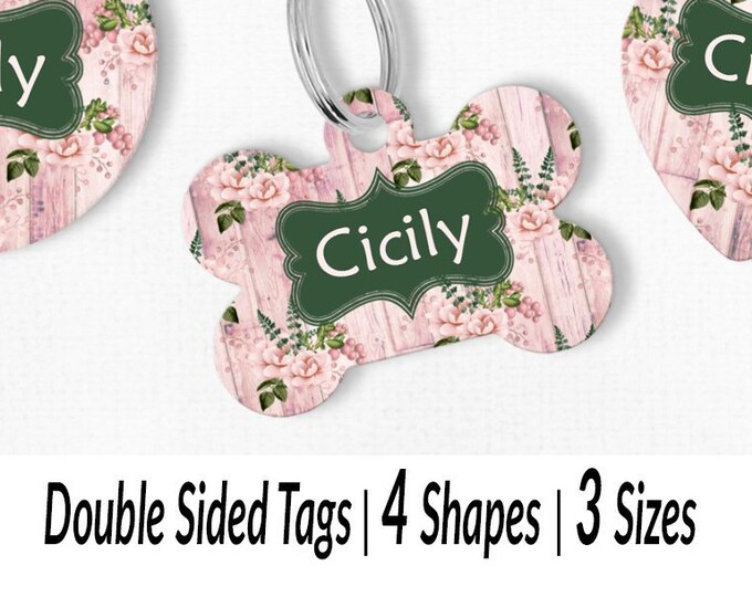 24c067f8b1bc Blush rose flower pet ID tag Pink wood dog tag for girl dogs Rustic pet dog