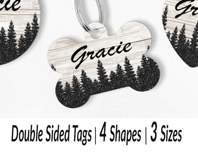 5a9af9d52e7a White washed wood forest trees personalized custom dog collar ID tags for  small and large breeds