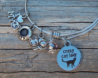Charm bangle bracelet Cat lover jewelry Cat themed jewelry Cat charms Personalized bracelet Expandable silver bangle Cat lover gift