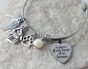 Dog charm bracelet Memorial bracelet Adjustable A Piece of My Heart is in Heaven charm Animal lover Pet remembrance  Dog mom gift Pet loss
