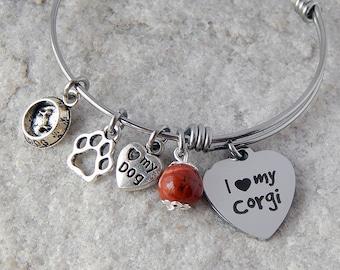 Corgi charm bracelet I love my Corgi Personalized gift Adjustable bangle Stainless steel Dog charm bracelet Silver jewelry Paw charm