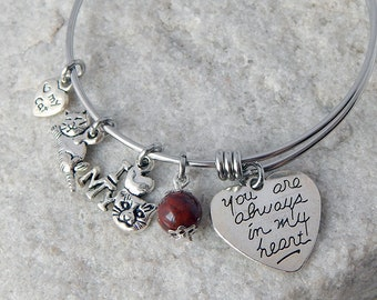 Cat charm adjustable bangle bracelet Memorial jewelry Cat lover Personalized gift Remembrance gift Loss of a pet Charm bracelet
