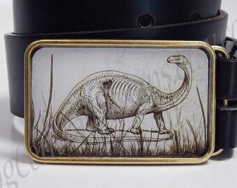 Belt buckle Brontosaurus Dinosaur Choice of buckle finish silver bronze or shiny silver Belt buckles for men Womens belt buckle Reptiles