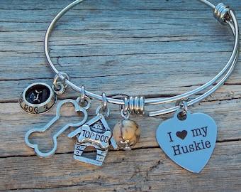 I love My Huskie Charm Bangle Bracelet Dog Animal Lover Womens Jewelry Natural Stone Zebra Jasper Huskie Dogs