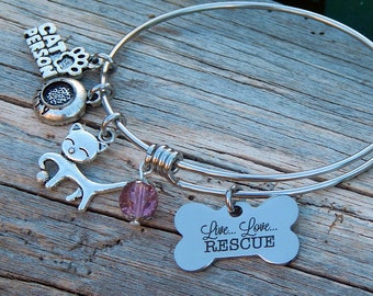 Charm bracelet Live Love Rescue Special gift for an animal lover Jewelry Handmade Cat charm bracelet Womens jewelry Gift for her Cat lover