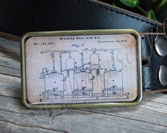 Belt buckle Vintage hops kettle patent Beer lover Micro brew Craft brewery Craft beers Beer maker Machine patents Unique gift for him or her