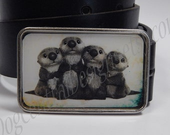 Belt buckle Otter family Choice of buckle finish Metal belt buckle Unique buckles Great gift idea Womens belts