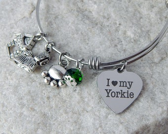 Yorkie dog charm bangle bracelet Yorkshire Terrier Adjustable Dog lover bracelet Dog themed jewelry Dog mom gift Personalized bracelet