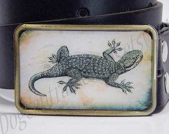 Belt buckle Prehistoric gecko lizard Choice of buckle finish silver bronze or shiny silver Belt buckles for men Womens belt buckle Reptiles