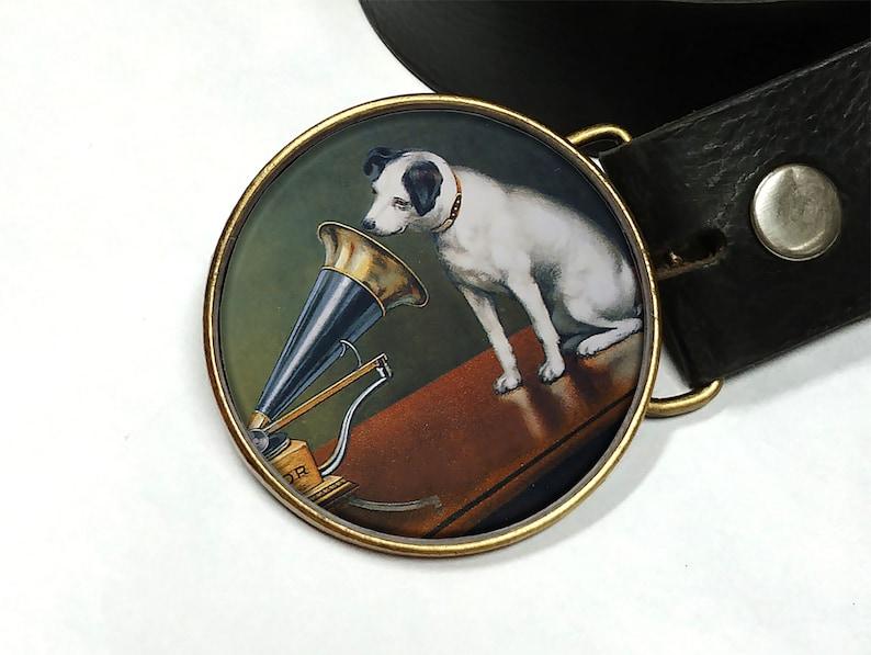 Vintage dog belt buckle Vintage Phonograph belt buckle Buckles for women Buckles for men Gift for her Dog lover gift