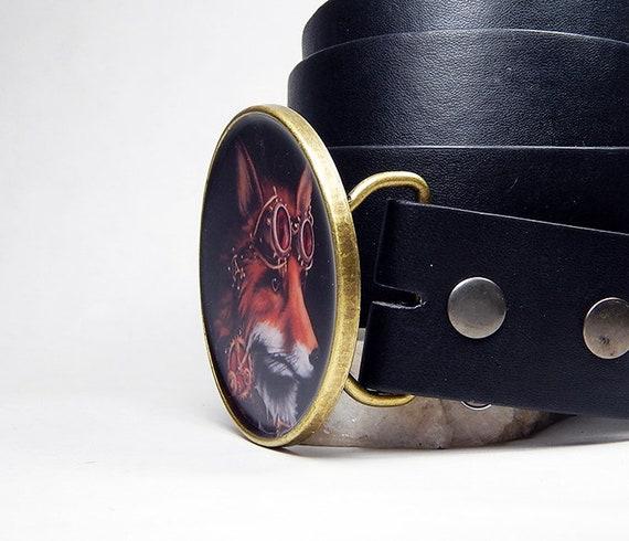 Boucles de ceinture ceinture boucle Steampunk renard rouge Steampunk  lunettes femmes boucles de ceinture pour homme renard tête ... f409d005b26