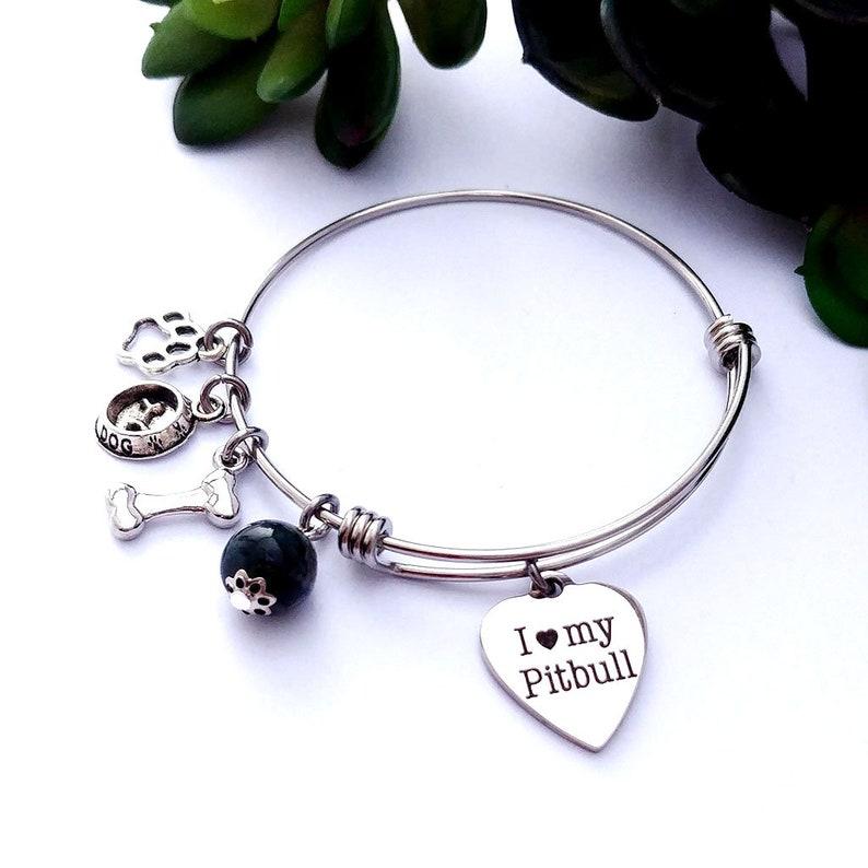 92a2501603f Pitbull charm bracelet Dog lover gift Personalized gift | Etsy