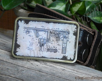 Belt buckle vintage Tommy gun patent Gifts for him Birthday Mens belt buckles Fathers Days Gift Mobster, Military, WWI, WWII