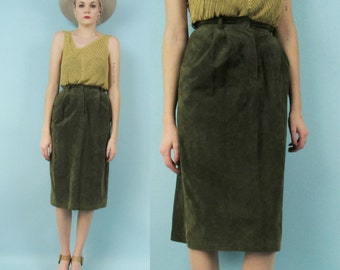 70s Suede High Waisted Skirt, Size Small, Extra Small, Vintage Green Leather Skirt, Moss, 80s, Knee Length, Hippie, Boho, Western, Retro