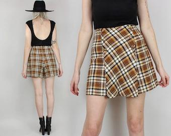 70s Plaid Skort, High Waisted Mini Skirt with Shorts, Size Medium, Brown, 60s, Vintage, School Uniform,